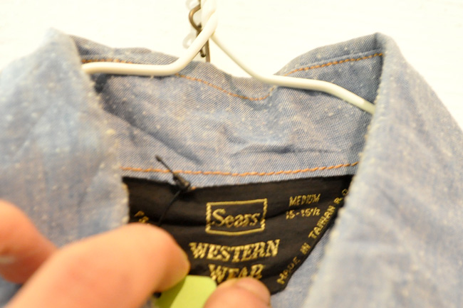 80's sears chambray western shirts tag