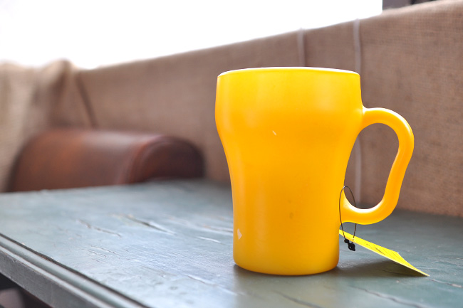 FireKing Soda mug yellow