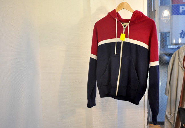 old bi-color zip up hoodie